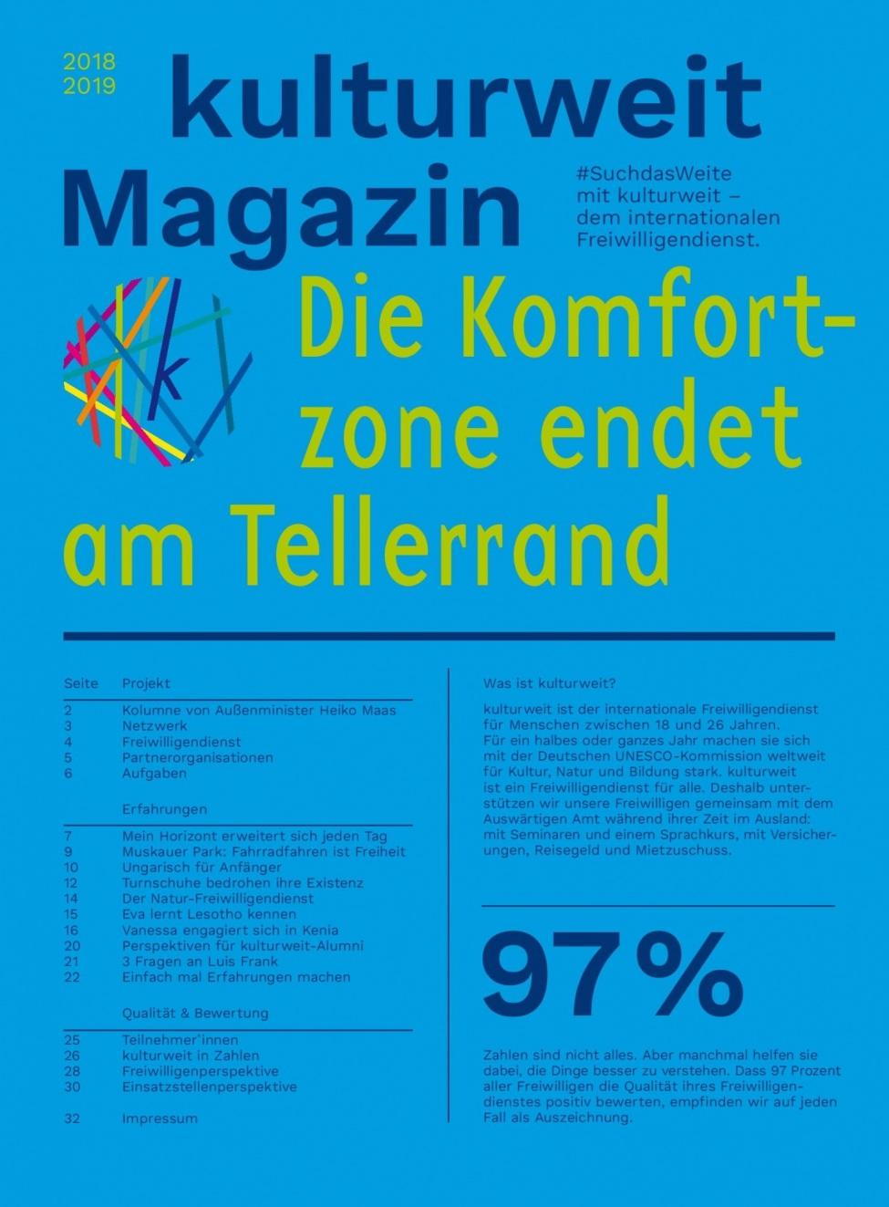 Titelseite des kulturweit-Magazins 2018/2019