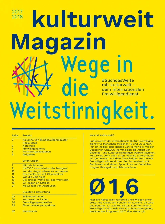Titelseite des kulturweit-Magazins 2017–2018