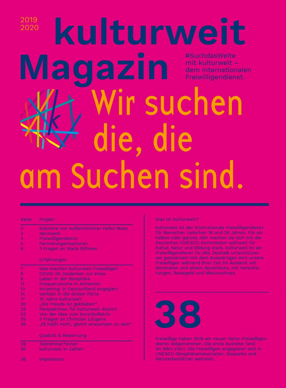 Titelseite des kulturweit-Magazins 2019-2020