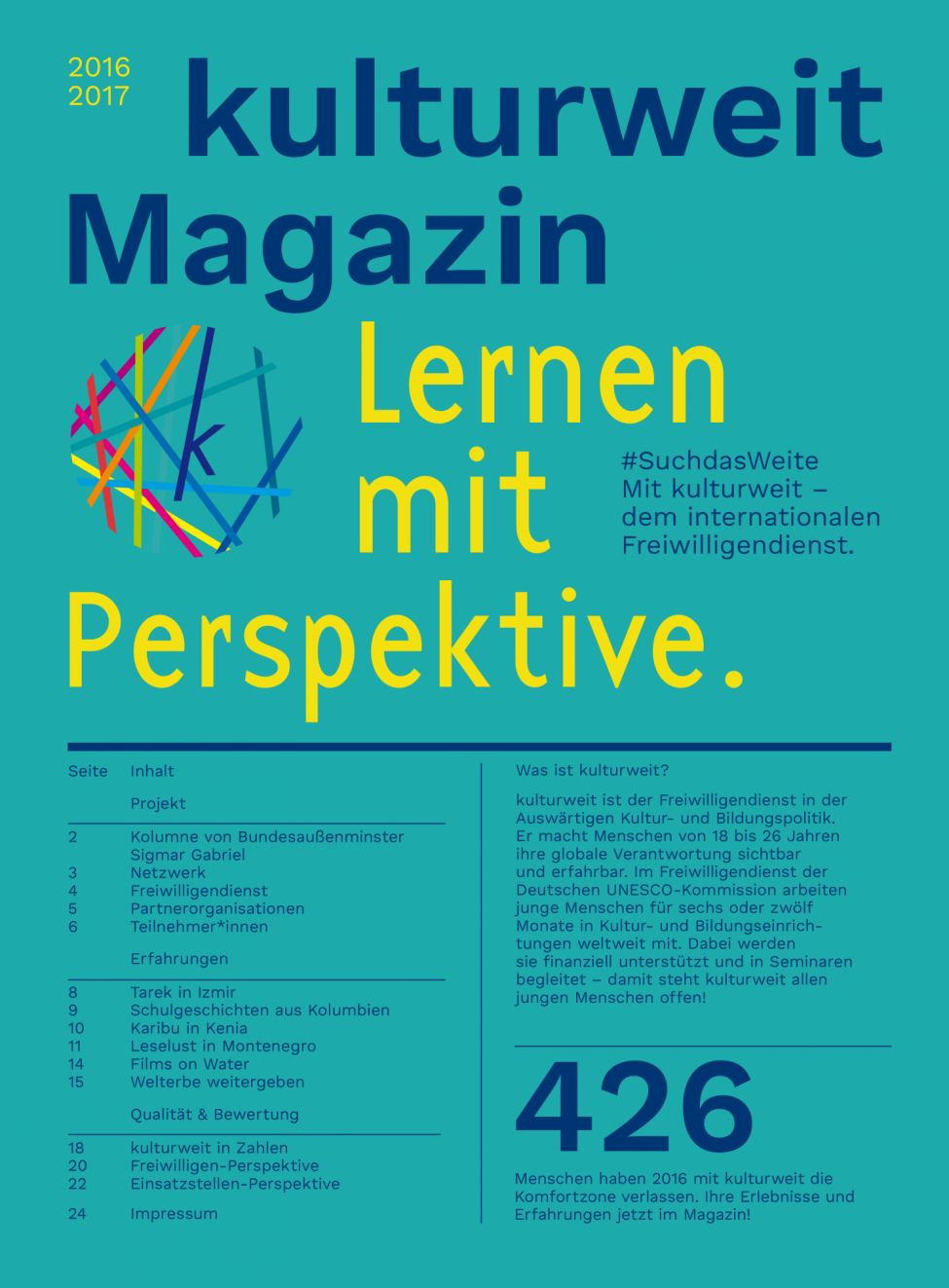 Titelbild des kulturweit-Magazins 2016/2017