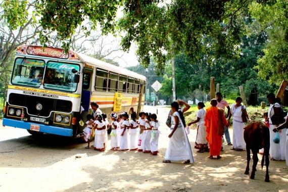 Straßenszene in Battaramulla, viele in weiß gekleidete Kinder stehen vor einem gelben Bus
